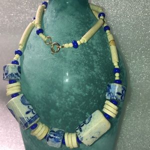 Vintage Ceramic and blue bead necklace